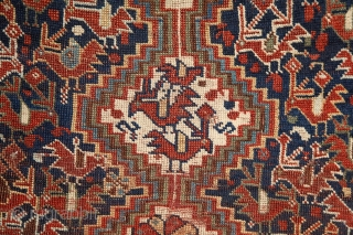 "Poetic Khamseh ""bird"" rug, 19th century, wool on wool, a lovely storytelling about birds in love on the sides of a tree of the life which ends in seeds (bottom of the  ..."