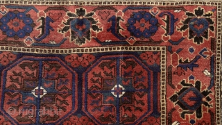 Baluch rug, east Persia, Ferdows area, juicy pile, beautiful border around softly trembling güls, oxidized browns, original fringes and side cords (goat hair) some worn at the bottom part. More pieces: http://rugrabbit.com/profile/5160