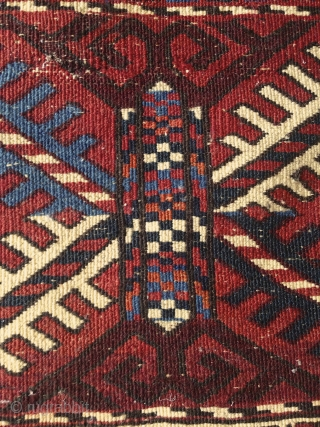 "Turkmen ""Turreted""/Pendi Göl rug, 100x150cm, soft wool, very fine graphic weaving, pile is full except on some parts, where it was folded, no repair, original selvages and kilim ends, perfect saturated light  ..."