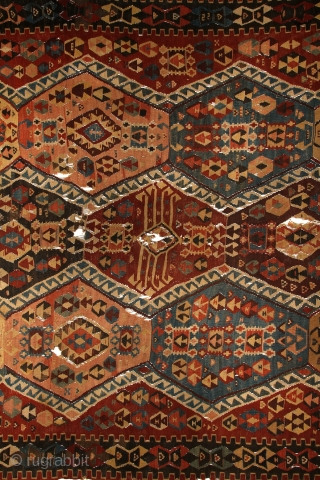Kagizman kilim, mid 19th century, East-Anatolia, 340x165cm. Nice non symmetrical, early balanced palette with deep and saturated colors included different kind of early aubergine! Beautiful red, mauve, turquoise, indigo, light creamy brown  ...