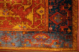 """""""Lotto"""" Ushak, late 19th century, 380x145cm Beautiful cloud-band bordure with stylized, mythological animal figures. Different shades of nice greenish blues. Perfect condition, original, intact selvages and kilim-ends. The only one problem can be seen  ..."""