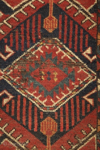 Beshir chuval, ca. 1850, wonderful colors, and super graphic, large scaling, rare ikat-like pattern, worn overall, worn overall, has seen more centuries, but still glorious, full with history, just like an old  ...
