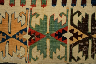 Malatya - Rashwan kilim, 175x320 cm, mid. 19th century Perfect, very deeply saturated, all natural colors, fresh turquoise greens, perfect deep indigo and more different blue, yellow, red and so on... full anatolian color  ...