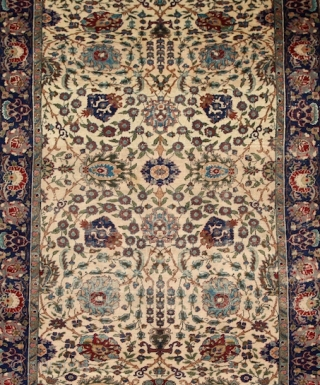 "Kayseri ""Manchester"" rug, wool on cotton, very fine knotting with soft, silky touch. Very characteristic ""Shah abbas"" field design The cream-ivory ground makes the movement of the leaves and flowers dynamic and  ..."