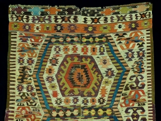 Aydin kilim, around 1850, 400x160 cm, outstanding colors with full anatolian early color spectrum including deeply saturated early aubergine.... perfect wool and weaving quality. Old, large scaled main field  and end  ...