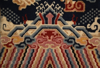 Tibetan pillar rug, mid 20th century, 220x70cm, wool on cotton, perfect condition, intact sides and ends and full, soft pile overall. other pieces on sale: http://rugrabbit.com/profile/5160 (photograph of the weaver: Oriental Rug  ...