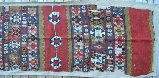 Anatolian kilim fragment, 345 x 61 cm. Mounted on linen.