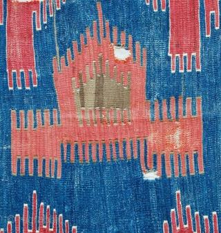 Anatolian kilim fragment, 223 x 156 cms. Mounted on linen.