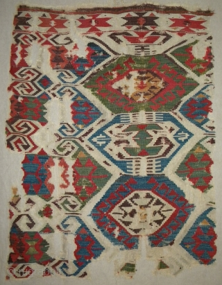 West Anatolian kilim fragment, 146 x 110 cms, great old colours, professionally mounted on linen.