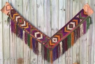Uzbeki Segusha (bedding stack decoration), silk cross stitch embroidery. 1st half 20th century. 1 arm 72cm, other arm 64 cm.