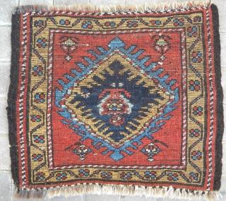 Punchy Kurdish pile bagface, 57 x 47 cms, thick deep pile, floppy but chunky handle.