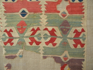 Lots of beautiful colours - anatolian kilim fragment, 205 x 52 cms, professionally mounted on linen.