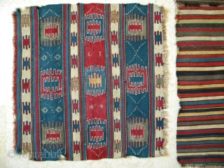 Caucasian khorjin, two faces, back and bridge, Borchaliu region, Southern Georgia, each face 50 x 49 cms, back and bridge 129 x 50 cms, wonderfully clear natural colours, finely woven, no repairs,  ...