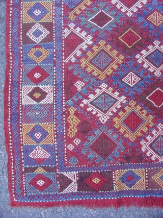 South Caucasian Verneh,   Good natural colors including two reds and a double-dyed green.  Good varied drawing, certainly not a cookie-cutter rendition of elements. Some wear but generally good condition.   (size =  ...