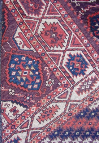 This is a Chodor Turkmen main carpet with a classic Ertmen gul field. While quite a few of these nineteenth century Central Asian tribal carpets survive into our time, this example is  ...