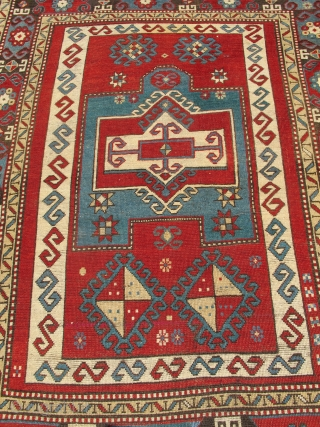 "Kazak prayer rug with bold drawing and color. later 19th century, 4'4""×5'6"" Inv#19699. Recently acquired, reasonably priced. Good condition with three small areas of overcasting. Otherwise, no surprises."