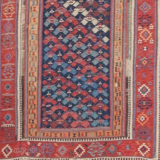 Northwest Persian Kurdish Kilim, Sauj Bulagh or Sanjabi, 1st half 19th century, excellent color and weave. These pieces are not common and this is a great example with some wear but complete.  ...
