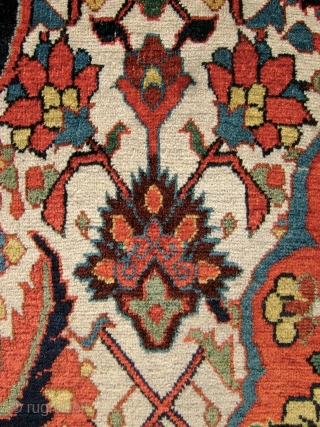"""""""Important Qashqa'i Carpet"""" Early 19th c. 5' x 8'4""""""""   5 x 8'4  Warp – Ivory wool,  Weft – Silk,  Pile – wool, asymmetric knot open left  238 knots per square inch – 17 H x 14 V  Selvedge  ..."""