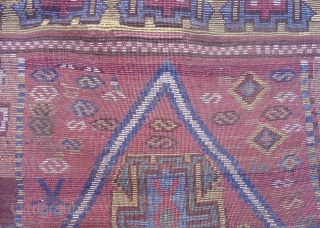 Dynamic East Anatolian Kurdish Rug. Perhaps Sivas with fantastic wool and color palette including canary yellow, green, rose madder and apricot. A great collectible weaving in great condition. Mid 19th century or  ...