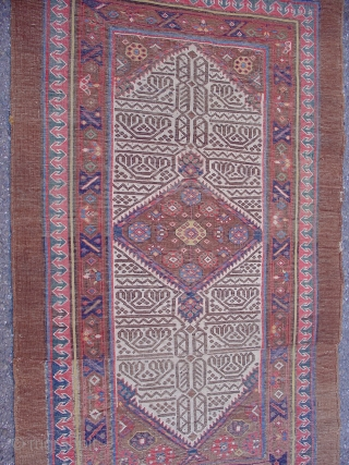 """Serab Rug, Great colors and wool with a nicely articulated rendition of the classic field pattern. This piece is cut and shut.  19th C. 4th quarter,  Size = 3'1"""" x  ..."""