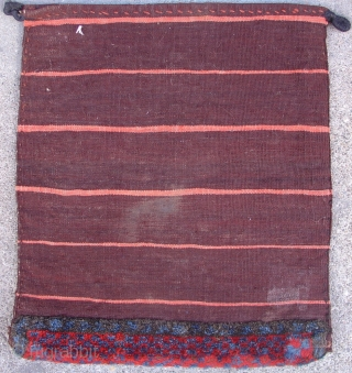 "Veramin Flatwoven Bag with a pile bottom. Size = 1'4"" x 1'6"". 4th quarter of the 19th cen. Inv #14861."