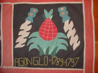 Quilt from Dahomey (now Benin), West Africa commemorating local rulers ( known as Ahosu) from the Abomey Kingdom of circa 1600 through the Dahomey Kingdom which existed from the seventeenth century until  ...