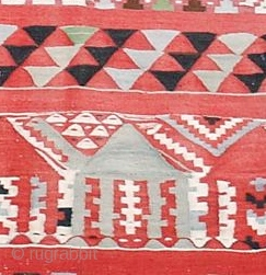 """Gafsa KilimTunisia, 19th C (2nd half)Size:7'5"""" x 8'4"""" A series of walking camels are among the many stylized geometric elements of this charming flatweave.Very good conditionInventory #:14294"""