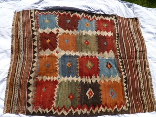Late 19th, early 20th century gabbeh-like small kilim.  SW Persian, probably Luri, given warps. Collected 20 years ago and has been in a camphorwood lined chest ever since!  Size is  ...