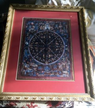 "Antique Tibetan Thangka 12"" x 16"" Mounted & Framed 21"" x 25"""