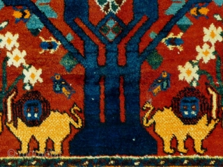 This is a first half of the 20th century Persian Neyriz wool-on-cotton rug in the Tree of Life design with avian motifs. The weavers in this small Fars town in southwest Iran  ...