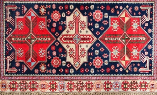 This is a second-half of the 20th century (1970s) Caucasian rug from the town of Shirvan on the shores of the Kura river in Azerbaijan 