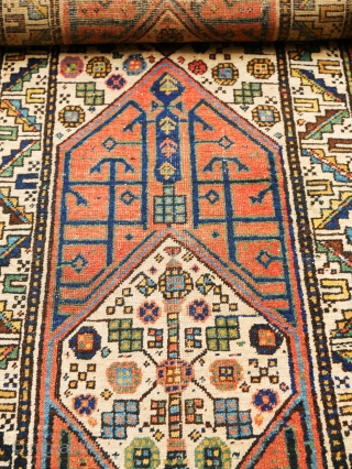 An antique Persian Serab (northwestern region) attributed to Shahsavan nomads.  A runner-sized piece with white main field and two elongated medallions and geometric tendrils and flower motifs. Age: around 1900. Measurements: ca, 3.20 x  ...
