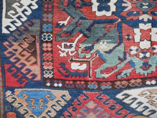 A very unique rendition of the Karabagh or Chelaberd SUNBURST or EAGLE Kazak. A highly unusual, charismatic Caucasian rug worthy of the most discriminate of collectors