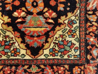 This is a very small  Sarouq Farahan  sampler rug (Vegiereh) showing parts of the design available to a prospective rug buyer or as a weaver's guide 