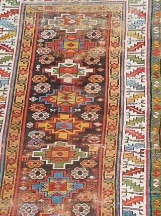 Antique Kazak runner for sale AS IS in need of massive repairs ...  circa 1850