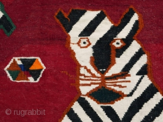 This is an authentic mid 20th century Qashqai Kilim from the Zagros mountains in south-west Iran.  Tigers, lions, and other animals are frequent motifs used by the many tribes in Iran's Fars  ...