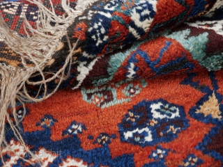 Early 1900s or older Persian Lori rug in the classic hooked-diamond all-over design All organic dyes.  Size: 320x225 approx.