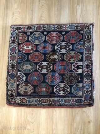 A collectable nice reverse weave Shahsavan Bag face about 100 years in a good condition,about 56x57 cm,very good colors.