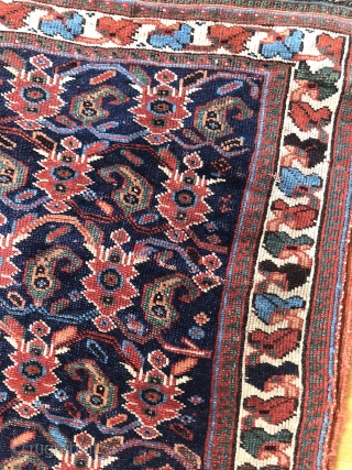A very nice Afshar-Sirjan pile Bag face with a back side Kelim about 100-120 years old,size:75x52 cm,with Red Warp weave,very nice design,white Border,with Keims in up side,some low wears in some parts,feel  ...