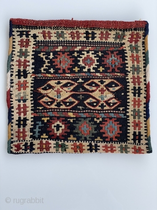 A very nice Kord Ghouchan(Nord east Persian)Kelim Bag face,about 1900,size:25x25 cm,in a very good condition,%100 Naturall Dyes.