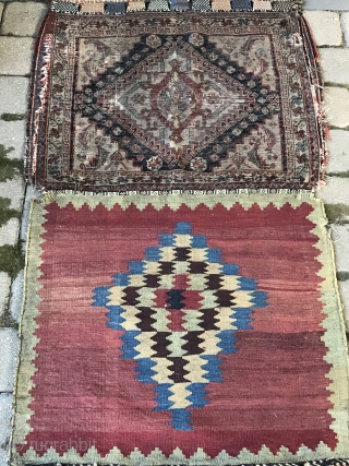 """Antique Persian tribal Qashqai bags 2'4"""" x 8'7"""" in as found condition. Used as a runner when found. The face is worn as are the edges in places. Good aesthetic in both  ..."""