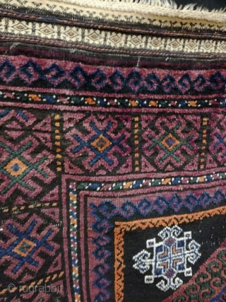 Antique Baluch rug with demagws but good shape. 288/175 cm.
