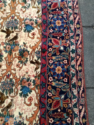 Rare fine Qum with silk 280/183 cm. First Generation of fine Ghom. Good shape with little ware only in silk parts.