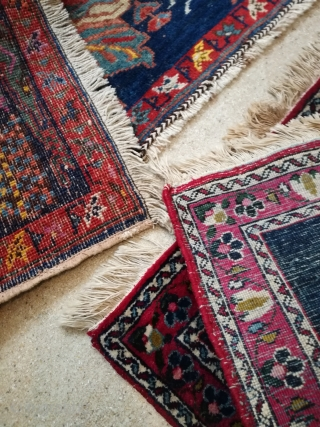Two old small rugs in good shape. A Afshar with 90/45 cm and a Kirman with 55/55 cm.