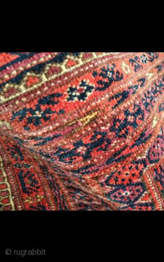 An antique Turkmen with small silk highlights. 109/43 cm. Very good shape.