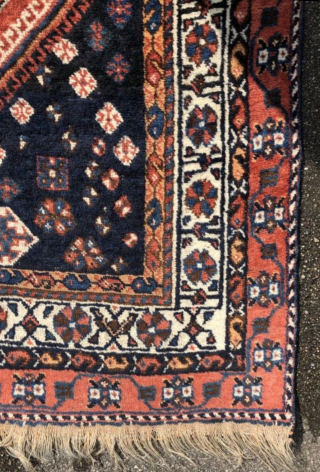 An old Gashgai rug in good shape. 240/150 cm.