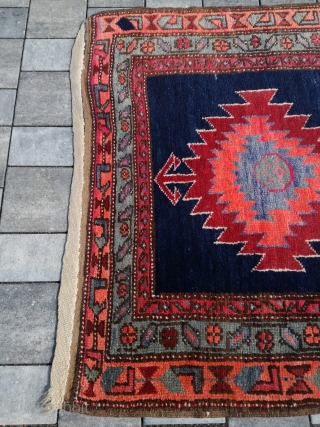 An old Shasawan on wool rug in good condition. About 400/135 cm.