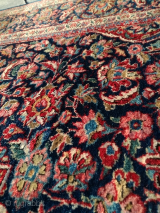 An old Dabir Kashan. Even good pile, no worn areas. Only use at the fring sides. 207/130 cm. Browns part corroded.