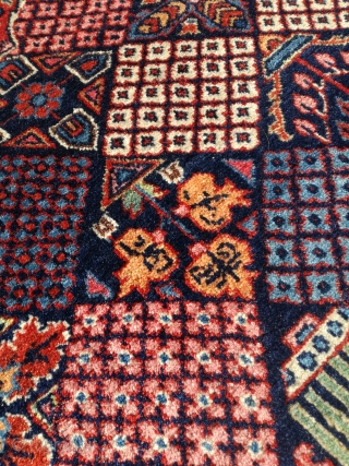 An old fine Kashan rug with 200/130 cm. Even good pile. Natural dyes.