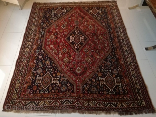 An old Qashqai rug with 200/154 cm in perfect original condition.